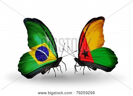 Two Butterflies With Flags On Wings As Symbol Of Relations Brazil And Guinea Bissau
