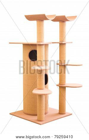 Huge Cat House Isolated On White.