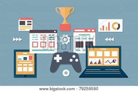 Vector Flat Illustration Of Gamification In Business. Management And Analytics
