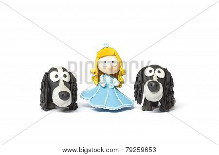 Toy Doll With Dogs On White