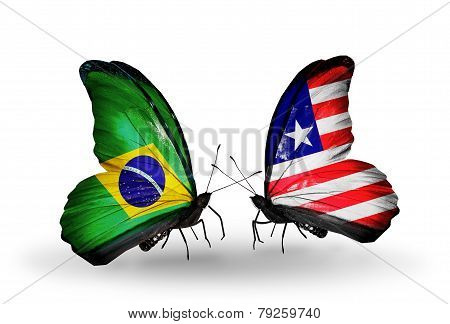 Two Butterflies With Flags On Wings As Symbol Of Relations Brazil And Liberia