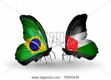 Two Butterflies With Flags On Wings As Symbol Of Relations Brazil And Palestine