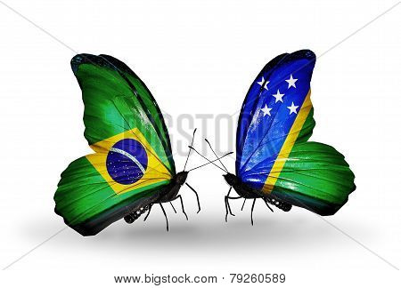 Two Butterflies With Flags On Wings As Symbol Of Relations Brazil And Solomon Islands