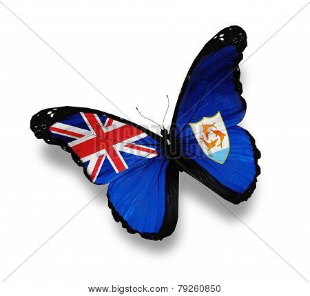 Flag Of Anguilla Butterfly, Isolated On White