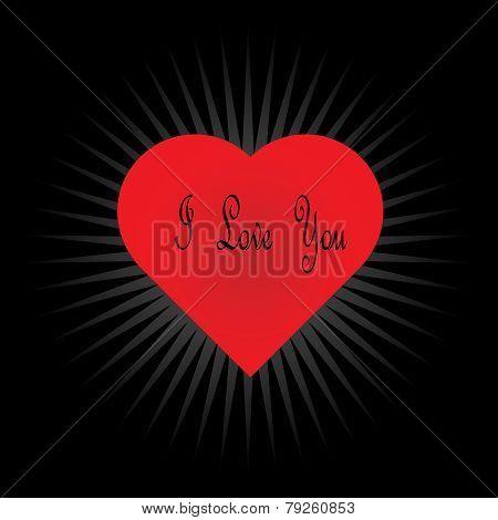 Valentine Vector-Heart Light Burst Over Black