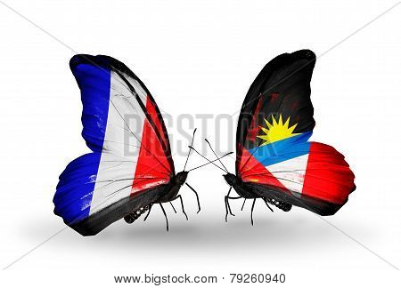 Two Butterflies With Flags On Wings As Symbol Of Relations France And Antigua And Barbuda