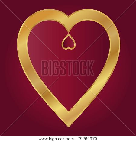 Valentine Vector-Maroon With Gold Hearts