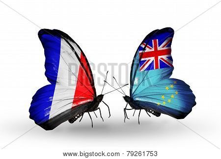 Two Butterflies With Flags On Wings As Symbol Of Relations France And Tuvalu