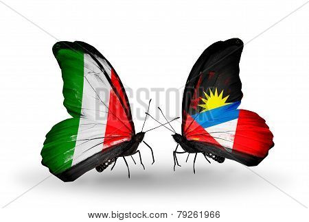 Two Butterflies With Flags On Wings As Symbol Of Relations Italy And Antigua And Barbuda