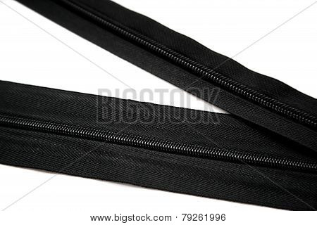 Black big and small zipper for clothes, shoes, backpack or bag isolated on white background