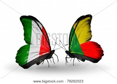 Two Butterflies With Flags On Wings As Symbol Of Relations Italy And Benin