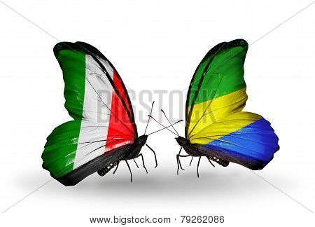 Two Butterflies With Flags On Wings As Symbol Of Relations Italy And Gabon