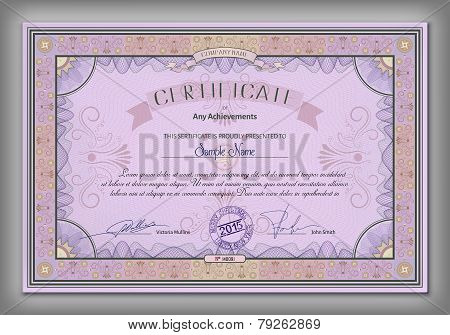 Vintage Certificate Template With Detailed Border And Calligraphic Elements On Purple Paper