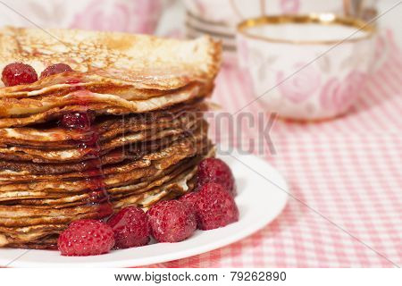 Pancakes With Raspberry Jam.