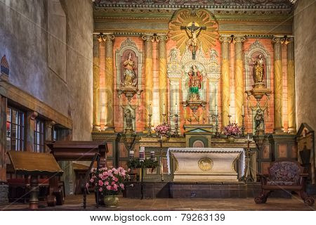 Old Mission Santa Barbara Church Interior Altar
