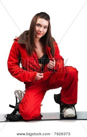 One beautiful girl unfastens red jacket