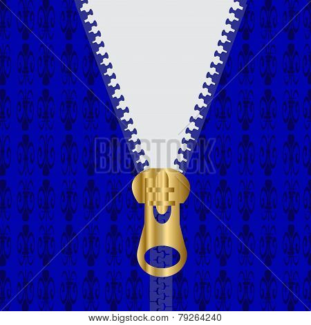Zippered Blue Sweater With Gold