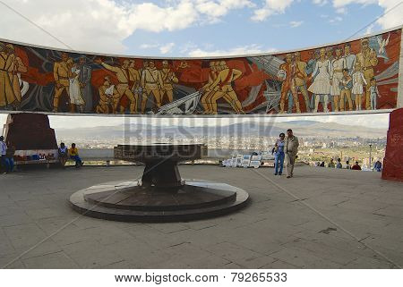 Tourists explore Zaisan war monument in Ulaanbaatar, Mongolia.