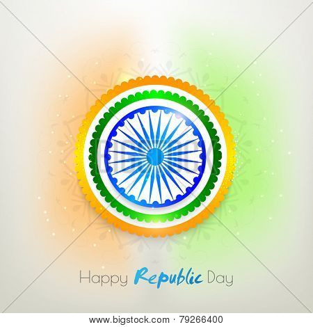 Glossy sticker or label design with Ashoka Wheel on floral decorated background for Happy Indian Republic Day celebration.