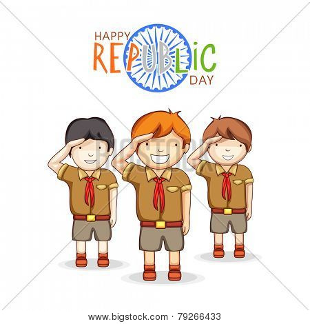 Cute little boys in scout uniform saluting on occasion of Indian Republic Day with Ashoka Wheel on white background.