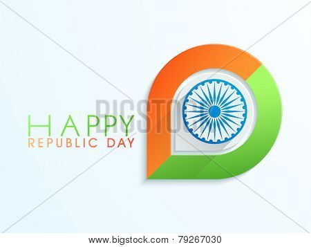 Happy Indian Republic Day celebration with Ashoka Wheel and national flag colors.