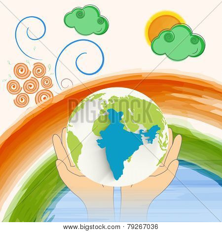 Human hand protecting globe with republic of India map and national flag colors paint stroke on decorative background.