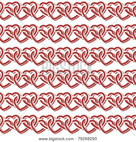 Seamless Pattern With Interlocking Hearts. Vector Illustration.