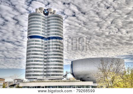 Munich - Germanyoctober 31: Bmw Building Museum On June 31, 2014, Munich, Germany. The Bmw Museum Is