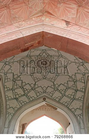 Red Fort  entrance gate architectural detail.