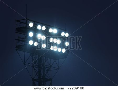 Metal lighting mast with spotlights