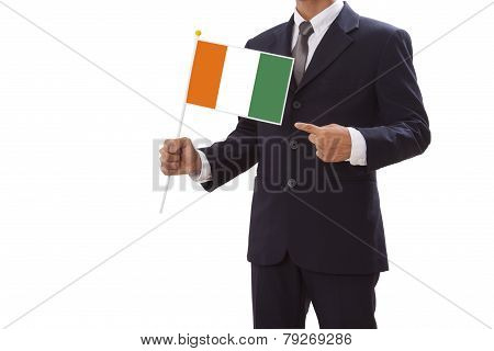 Businessman with Ivory Coast flag