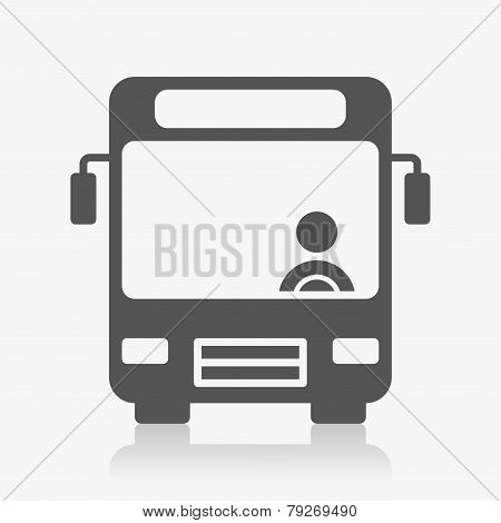Bus with bus driver icon