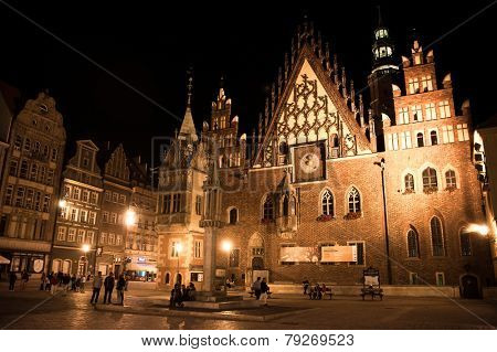 WROCLAW. POLAND - AUGUST, 23: evening view of the City Hall in Wroclaw. August, 23, 2014