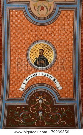 TRAVNIK, BOSNIA AND HERZEGOVINA - JUNE 11: Saint  Peter Klaver, fresco on the ceiling of the church of St. Aloysius in Travnik, Bosnia and Herzegovina on June 11, 2014.