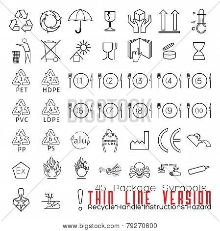 Collection Of 45 Packaging Symbols