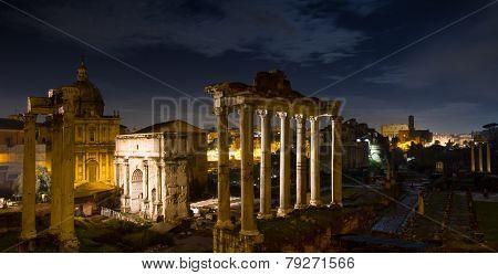 Panorama Of The Forum Romanum At Night