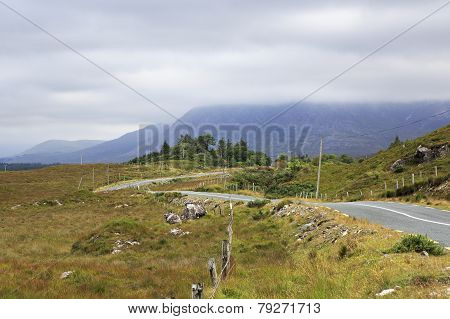 Road in the National park Connemara.