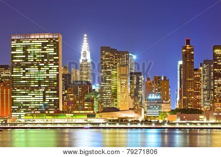 New York City USA. Downtown buildings in Manhattan
