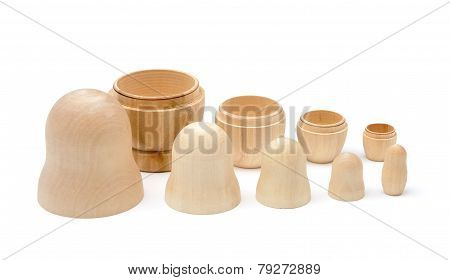 Set Of Five Disassembled Wooden Matryoshkas