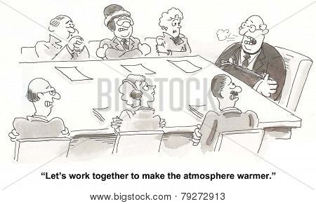 Warmer Atmosphere in Business Meeting
