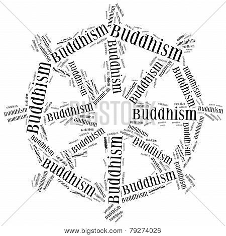 Symbol Of Buddhism Religion. Word Cloud Illustration.