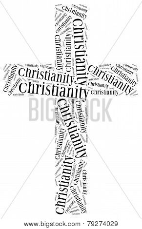 Symbol Of Christianity Religion. Word Cloud Illustration.