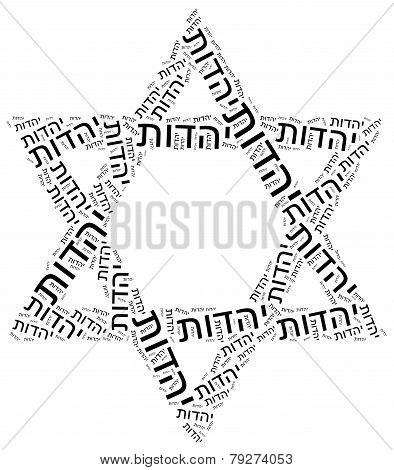 Symbol Of Judaism Religion. Word Cloud Illustration.