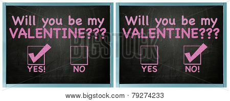 Double Valentines card with yes and no answer on blackboard