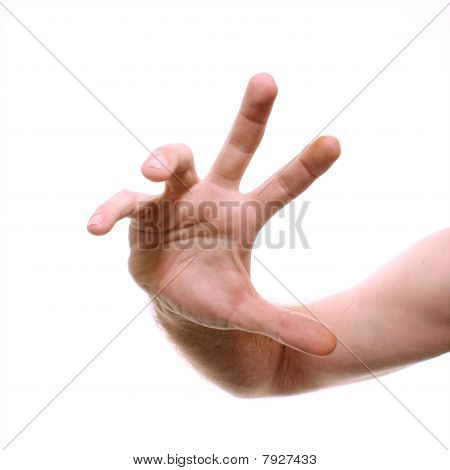 Male Hand Reaching Towards Viewer Isolated On White