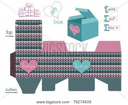 Printable Gift Box With Chevron Pattern