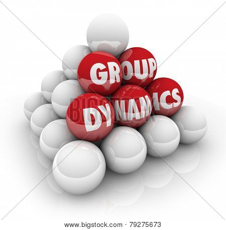 Group Dynamics words on 3d balls in a pyramid to illustrate the potential or possibility of collaboration or cooperation in a group or organization