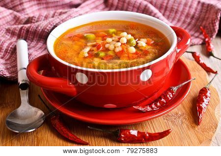 Soup With Small Pasta And Vegetables
