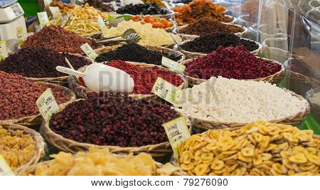 Dried Fruit Exposed In A Street Market