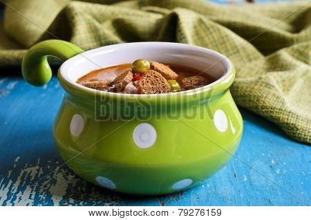 Soup With Small Pasta, Vegetables And Croutons